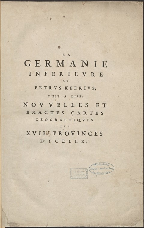 LA GERMANIE INFERIEVRE de PETRUS KEERIUS